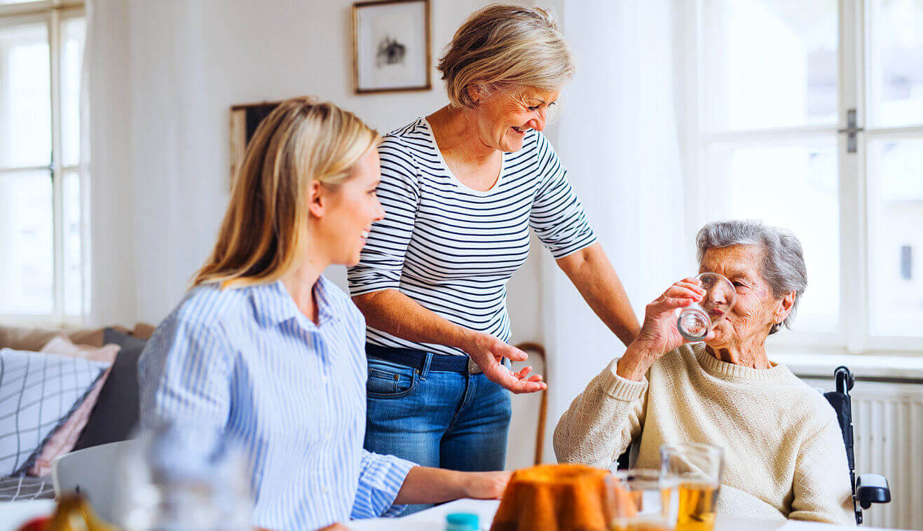 disabled senior drinking